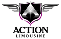 Action limousine logo for livery car service