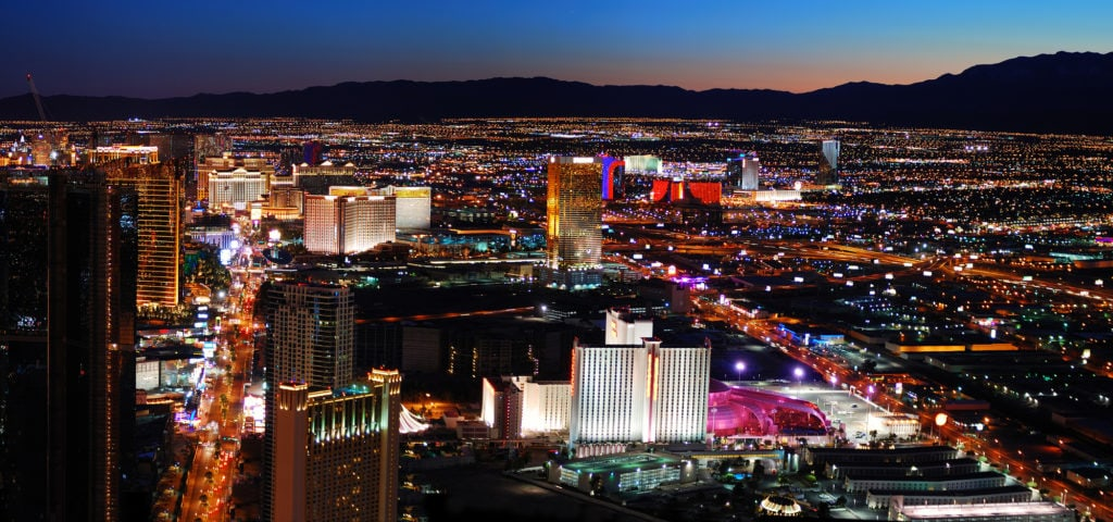 Panoramic view of Las Vegas at night.